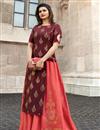 image of Prachi Desai Party Style Banarasi And Satin Fabric Designer Long Kurti In Maroon With Jacket