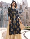 image of Prachi Desai Party Wear Designer Navy Blue Banarasi And Satin Fabric Long Kurti With Koti