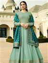 image of Prachi Desai Cyan Embroidered Designer Anarkali Suit In Art Silk With Fancy Dupatta