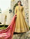 image of Prachi Desai Art Silk Embroidered Designer Anarkali Dress In Yellow With Fancy Dupatta