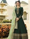 image of Prachi Desai Dark Green Art Silk Embroidered Designer Anarkali Dress With Fancy Dupatta