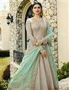 image of Prachi Desai Embroidered Art Silk Designer Anarkali Suit In Cream With Fancy Dupatta