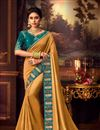 image of Sangeet Wear Art Silk Fabric Embroidery Work Saree In Mustard Color