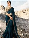 image of Eid Special Prachi Desai Function Wear Art Silk Navy Blue Traditional Saree With Embroidery