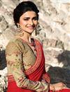 photo of Prachi Desai Function Wear Art Silk Red Designer Saree With Fancy Embroidery Work