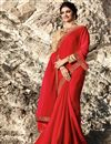 image of Prachi Desai Function Wear Art Silk Red Designer Saree With Fancy Embroidery Work