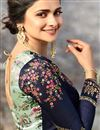 photo of Prachi Desai Function Wear Teal Art Silk Traditional Saree With Embroidery