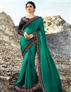 image of Prachi Desai Function Wear Teal Art Silk Traditional Saree With Embroidery