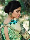 photo of Prachi Desai Art Silk Sangeet Wear Teal Traditional Saree With Fancy Embroidery