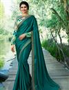image of Prachi Desai Art Silk Sangeet Wear Teal Traditional Saree With Fancy Embroidery
