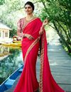image of Prachi Desai Function Wear Fancy Red Designer Saree With Embroidery Work