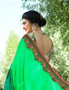 photo of Prachi Desai Art Silk Sangeet Wear Green Traditional Saree With Fancy Embroidery