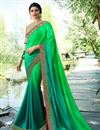 image of Eid Special Prachi Desai Art Silk Sangeet Wear Green Traditional Saree With Fancy Embroidery