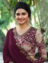 photo of Prachi Desai Art Silk Party Wear Saree In Burgundy With Embroidery Work