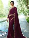 image of Prachi Desai Art Silk Party Wear Saree In Burgundy With Embroidery Work