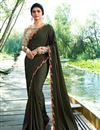image of Prachi Desai Sangeet Wear Mehendi Green Saree In Art Silk Fabric With Embroidery Work