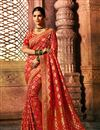image of Eid Special Red Color Art Silk Fabric Wedding Wear Saree With Weaving Work And Gorgeous Blouse