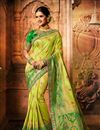 image of Weaving Work On Green Color Designer Saree In Art Silk Fabric With Admirable Blouse