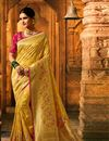 image of Art Silk Fabric Weaving Work Designs On Golden Color Reception Wear Saree With Attractive Blouse
