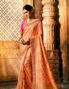 image of Eid Special Art Silk Fabric Salmon Color Weaving Work Designer Saree With Designer Blouse
