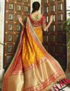 photo of Eid Special Banarasi Silk Function Wear Orange Weaving Work Saree With Embroidered Blouse