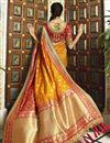 photo of Banarasi Silk Function Wear Orange Weaving Work Saree With Embroidered Blouse