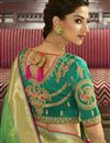 photo of Eid Special Function Wear Sea Green Weaving Work Saree With Embroidered Blouse In Banarasi Silk