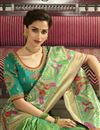 picture of Eid Special Function Wear Sea Green Weaving Work Saree With Embroidered Blouse In Banarasi Silk