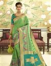 image of Function Wear Sea Green Banarasi Silk Weaving Work Saree With Embroidered Blouse
