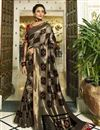 image of Eid Special Banarasi Silk Black Function Wear Weaving Work Saree With Embroidered Blouse
