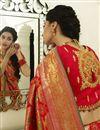 photo of Banarasi Silk Red Function Wear Weaving Work Saree With Embroidered Blouse