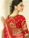 photo of Banarasi Silk Function Wear Red Weaving Work Saree With Heavy Embroidered Blouse
