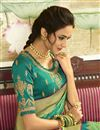 picture of Function Wear Cyan Weaving Work Saree With Embroidered Blouse In Banarasi Silk