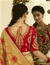 photo of Eid Special Function Wear Mustard Weaving Work Saree With Embroidered Blouse In Banarasi Silk