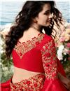 photo of Eid Special Art Silk And Net Fabric Party Wear Embroidered Saree In Red Color With Designer Blouse