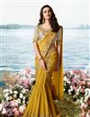 image of Embroidery Work On Mustard Color Art Silk And Net Fabric Designer Saree With Alluring Blouse