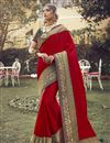 image of Art Silk Fabric Sangeet Wear Chic Saree With Embroidered Blouse In Red Color