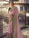 image of Sangeet Wear Art Silk Fabric Chic Saree With Embroidered Blouse In Pink Color