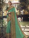 image of Sea Green Color Sangeet Wear Chic Art Silk Fabric Saree With Embroidered Blouse