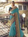 image of Art Silk Fabric Sangeet Wear Cyan Color Chic Saree With Embroidered Blouse