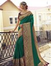 image of Green Color Sangeet Wear Chic Saree With Embroidered Blouse In Art Silk Fabric