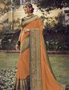 image of Sangeet Wear Art Silk Fabric Chic Orange Color Saree With Embroidered Blouse