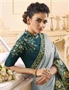 photo of Party Wear Art Silk Fabric Alluring Embroidered Saree In Grey Color