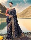 image of Wedding Function Wear Navy Blue Art Silk Saree With Heavy Blouse
