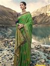 image of Art Silk Wedding Function Wear Green Saree With Heavy Blouse