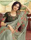 photo of Party Style Art Silk Fabric Trendy Embroidered Saree In Grey Color