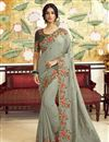 image of Party Style Art Silk Fabric Trendy Embroidered Saree In Grey Color