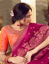 photo of Party Style Art Silk Fabric Trendy Embroidered Saree In Dark Pink Color