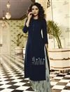 image of Jasmin Bhasin Navy Blue Festive Style Embroidered Kurti With Palazzo In Rayon