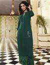 image of Jasmin Bhasin Rayon Embroidered Teal Festive Style Kurti With Palazzo